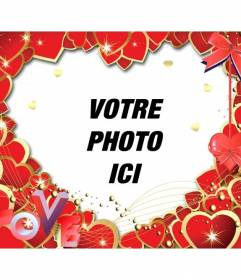 Cadre photo avec des coeurs rouges et les lettres LOVE  de mettre une photo