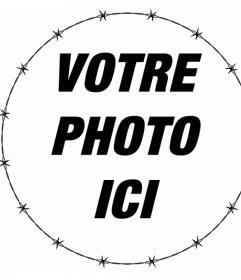 Cadre circulaire avec une clôture de fer barbelé pour décorer vos photos pour