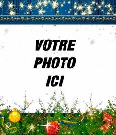 Bleu cadre pour les photos de décoration de Noël