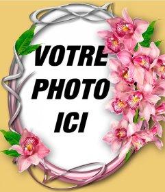 Cadre photo avec des orchidées sur un cercle ornemental avec votre photo