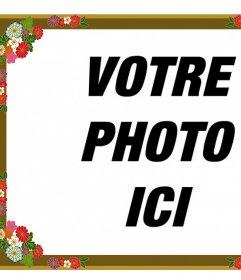 Border pour des photos avec des fleurs décoratives que vous pouvez modifier en ligne