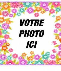 Cadre avec des fleurs colorées pour décorer vos photos pour