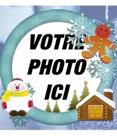 Cadre photo en ligne avec de la neige pour votre carte de Noël