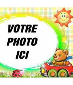 Cadre décoratif pour les enfants avec un ours en peluche dappel doffres et un effet