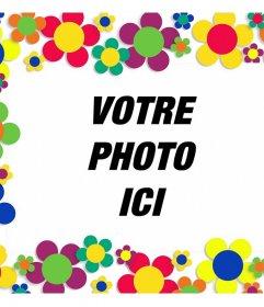 Cadre photo avec beaucoup de fleurs colorées pour décorer vos photos