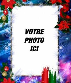 Cadre photo décoré pour Noël et vous pouvez personnaliser avec votre photo