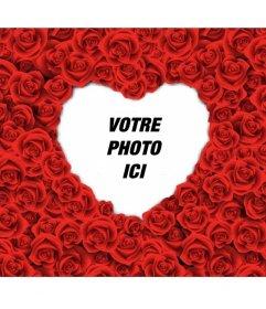 Cadre photo en forme de coeur rempli de roses rouges pour vos photos romantiques amour