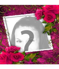 Cadre photo pour les amateurs avec des ornements de roses rouges haut et bas