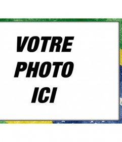 Cadre photo avec le drapeau du Brésil avec un style grunge pour personnaliser vos photos et ajouter du texte en ligne