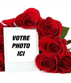 cadre photo en ligne entour e dun bouquet de roses photoeffets. Black Bedroom Furniture Sets. Home Design Ideas