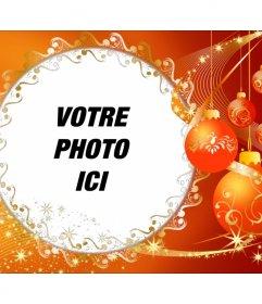 Cadre photo avec des décorations de Noël pour mettre votre photo