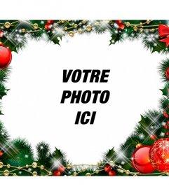 Cadre photo avec une guirlande de Noël.