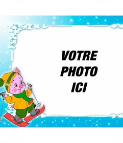 personalized cadre photo avec un ski de porc en particulier pour les enfants photoeffets. Black Bedroom Furniture Sets. Home Design Ideas