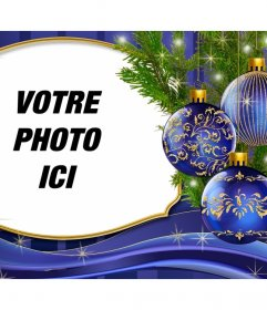Placez votre photo à côté de cette carte de Noël avec des ornements