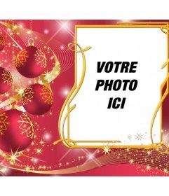 Cadre rouge pour mettre votre image avec des boules de Noël.