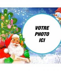 Cadre photo avec le Père Noël chargé de cadeaux dans un sac