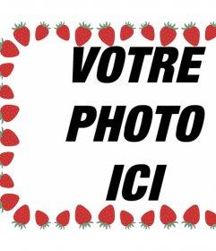 Cadre photo avec des fraises pour décorer vos images et