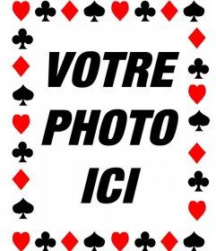 Cadre photo avec des symboles de cartes de poker