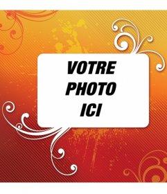Cadre photo Orange. Décorez votre photo avec cette décoration et vous pouvez enregistrer ou e-mail à partir de la même page