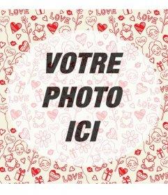 Cadre photo romantique avec des coeurs et des ours en peluche dessins en mosaïque avec un centre semi-transparent