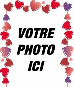 """Cadre photo de coeurs rouges et roses pour la Saint-Valentin où vous mettez l""""image avec votre dulcinée"""