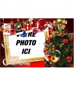 Belle carte de Noël avec des décorations de Noël, des cadeaux, des photos du Père Noël et des cadeaux. Arrêtez de cartes de Noël avec votre photo