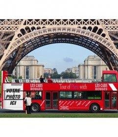 Insérez votre photo dans une affiche annonçant un bus de tournée sous la Tour Eiffel à Paris