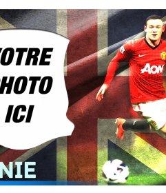 """Montage avec Wayne Rooney, l""""attaquant de l""""équipe anglaise"""