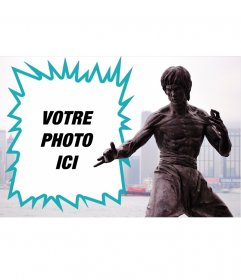Collage avec une statue de Bruce Lee