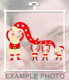 Autocollant avec quelques elfes habillés en Père Noël