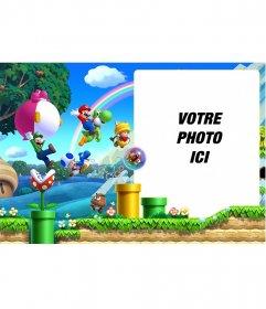 Collage avec une image du jeu Super Mario Bros U