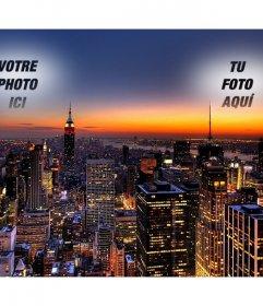 """Dans ce collage Votre photo apparaît deux fois, jeté dans le ciel de New York. image spectaculaire d""""un coucher de soleil avec les lumières des gratte-ciel éclairés"""