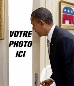 Photomontage de Barack Obama dans lequel votre photo apparaît derrière la porte qui souvre