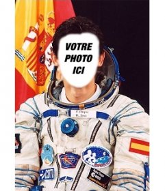 Effet photo où vous pouvez mettre votre visage sur le corps de Pedro Duque, astronaute espagnol