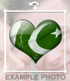 Autocollant avec le drapeau du Pakistan dans la forme de coeur