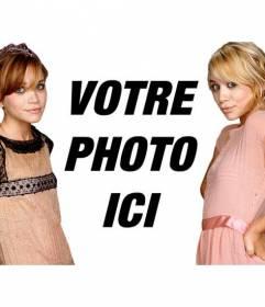 Photomontage avec les jumelles Olsen, Mary-Kate et Ashley. Apparaît dans une photo avec les célèbres lanceurs de jumeaux américains et ajouter du texte