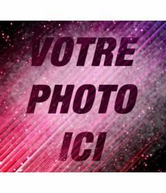 """Photomontage spécial dans lequel vous pouvez mettre une image sur un fond abstrait semi-transparent violet avec des étoiles dans l""""univers et ajouter du texte"""
