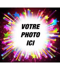 PhotoFrame avec des brillants et des teintes vives d'étoiles brillantes pour mettre une image et ajouter un texte.