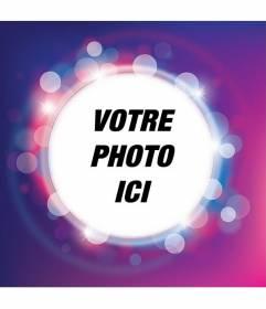 Cadre photo avec brillant pourpre et lilas éclat avec une forme circulaire de placer votre photo et ajouter du texte gratuitement