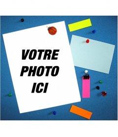 Photomontage avec la note écrite coincé dans le bouchon de la paroi pour mettre votre photo