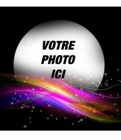 Cadre photo noir avec des lumières glowwing de couleurs vives sur le fond et un trou rond de mettre une photo.