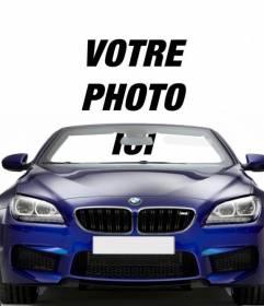 Conduire une BMW décapotable bleu avec ce photomontage dans lequel vous pouvez mettre votre photo à regarder comme vous êtes au volant d'une voiture.
