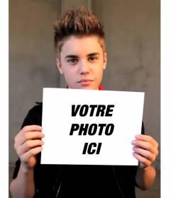 Photomontage avec Justin Bieber avec les cheveux courts tenant votre image