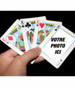"""Photomontage avec des cartes de poker où vous pouvez mettre votre photo dans l""""une des cartes et ajouter un texte libre"""