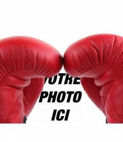 Photomontage avec une paire de gants de boxe rouges pour mettre votre photo en arrière-plan, comme si vous êtes un boxeur