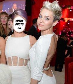 Photomontage être le prochain Cyrus Miley Oscars parti blonde robe blanche