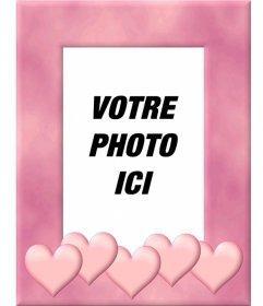 """Cadre photo avec bordure rose orné de cœurs. Télécharger une photo, le découper et de mettre cet avantage comme une décoration qui inspire l""""amour"""