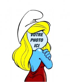 Photomontage de la Schtroumpfette, la série pour enfants Les Schtroumpfs. Il porte sa casquette blanche et une robe rouge.