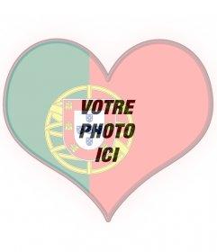 Drapeau du Portugal en forme de coeur avec votre photo