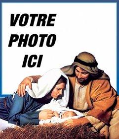 Carte de Noël Jesus Manger pour télécharger votre photo